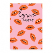 "Tarjetas de joyería ""love and kisses"" rosa"