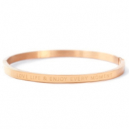 "Pulseras acero inox ""LOVE LIFE AND ENJOY EVERY MOMENT"" Oro rosado"