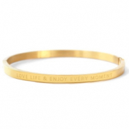 "Pulseras acero inox ""LOVE LIFE AND ENJOY EVERY MOMENT"" Oro"