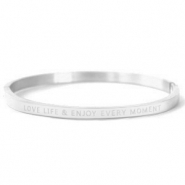 "Pulseras acero inox ""LOVE LIFE AND ENJOY EVERY MOMENT"" Plata"