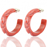 Pendientes criolla Polaris Elements flor grabada 30mm Rojo coral