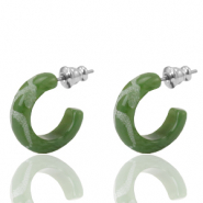 Pendientes criolla Polaris Elements grabado 18mm Verde oliva dusty