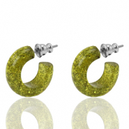 Pendientes criolla Polaris Elements glitter 18mm Verde oliva