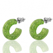 Pendientes criolla Polaris Elements glitter 18mm Rayo verde