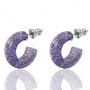 Pendientes criolla Polaris Elements glitter 18mm Lila provenzal