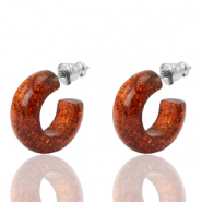 Pendientes criolla Polaris Elements glitter 18mm Topacio marrón