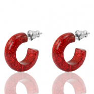 Pendientes criolla Polaris Elements glitter 18mm Rojo siam