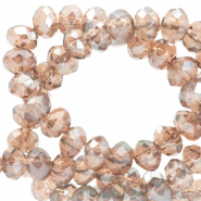 Abalorios faceteados disco 4x3 mm Beige champagne-revestimiento pearl shine