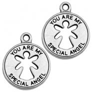 "Colgantes metálicos DQ ""you are my special angel"" plata vieja (sin níquel)"