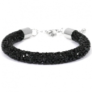 Pulseras Crystal Diamond 8mm negro Jet