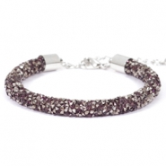Pulseras Crystal Diamond 7mm amatista-antracita