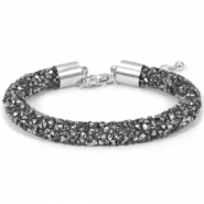 Pulseras Crystal Diamond 8mm negro diamante-antracita