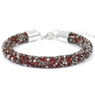 Pulseras Crystal Diamond 8mm rojo Siam-antracita