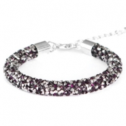Pulseras Crystal Diamond 8mm amatista oscuro-antracita