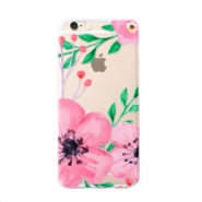 Funda de móvil Trendy para iPhone 6 Plus flor transparente-rosa verde