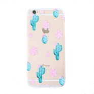 Funda de móvil Trendy para iPhone 6 Plus cactus & flores transparente-azul rosa